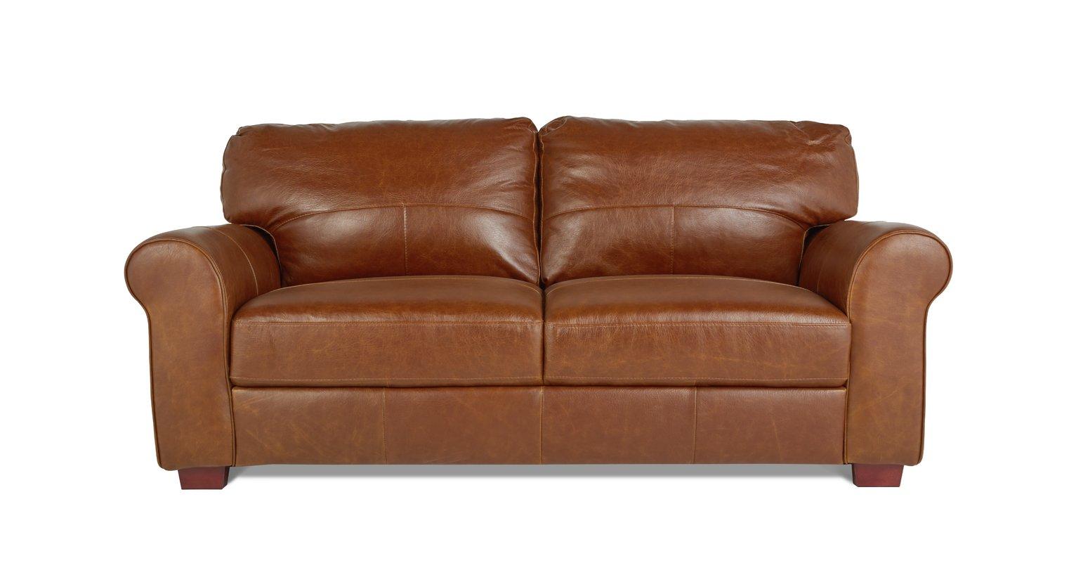 Buy Argos Home Salisbury 3 Seater Leather Sofa   Tan | Sofas | Argos