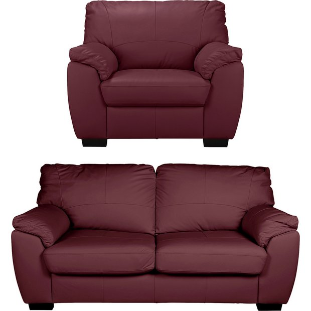 buy collection milano leather 3 seater sofa and chair red at argos