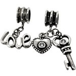 more details on Link Up Sterling Silver Love and Key Drop Charms - Set of 2.