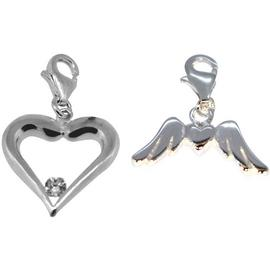 Link Up S.Silver Angel and Heart Clip-On Charms - Set of 2.
