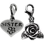 more details on Link Up S.Silver Sister and Rose Clip-On Charms - Set of 2.