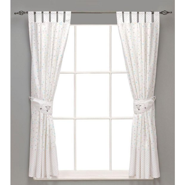 Buy east coast nursery counting sheep curtains and tie for Nursery curtains uk
