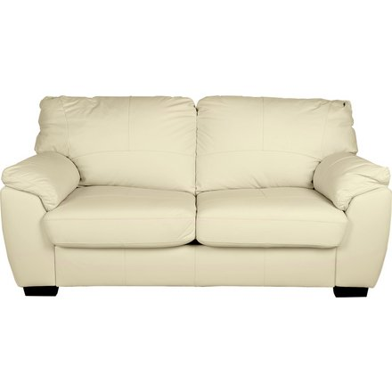 Buy Argos Home Milano 2 Seater Leather Sofa Bed - Ivory | Sofa beds | Argos