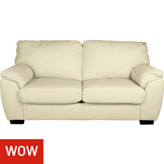 Argos Home Milano 2 Seater Leather Sofa Bed - Ivory