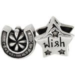 more details on Link Up Sterling Silver Good Luck and Wish Charms - Set of 2