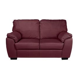 Argos Home Milano Leather 2 Seater & 3 Seater Sofa -Burgundy