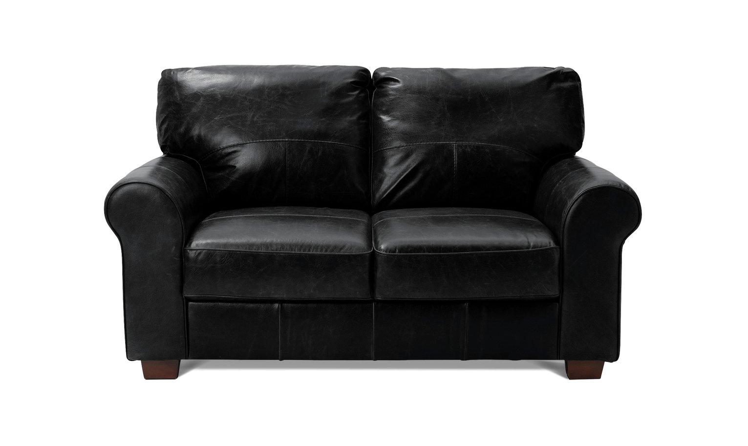 Buy Argos Home Salisbury 2 Seater Leather Sofa - Black ...