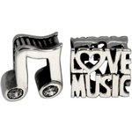 more details on Link Up Sterling Silver Music Note and Love Music Charms - 2