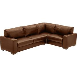 Argos Home Eton Right Corner Leather Sofa - Tan