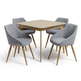 Habitat Skandi Oak Veneer Dining Table & 4 Grey Chairs