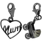 more details on Link Up S.Silver Mum and Buggy Clip-On Charms - Set of 2.