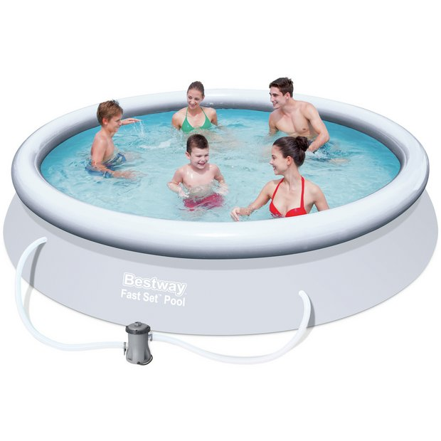 Buy quick up pool set 12ft white at your for Obi fast set pool