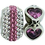 more details on Link Up S.Silver Pink Glitter and Heart Charms - Set of 2.