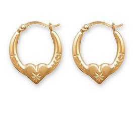 Revere 9ct Gold Plated Silver Small Heart Creole Earrings