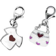 Sterling Silver T-Shirt and Handbag Clip-On Charms