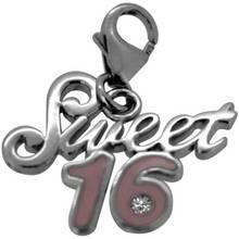 Sterling Silver Enamel 16 Clip-On Charm.