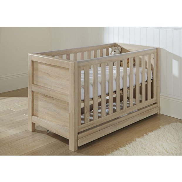 buy tutti bambini milan oak cot bed with drawer at argos. Black Bedroom Furniture Sets. Home Design Ideas