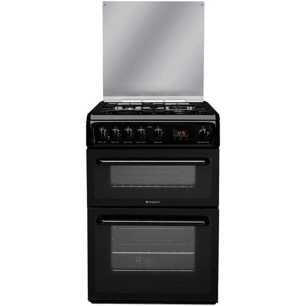 buy hotpoint hagl60k double gas cooker black. Black Bedroom Furniture Sets. Home Design Ideas