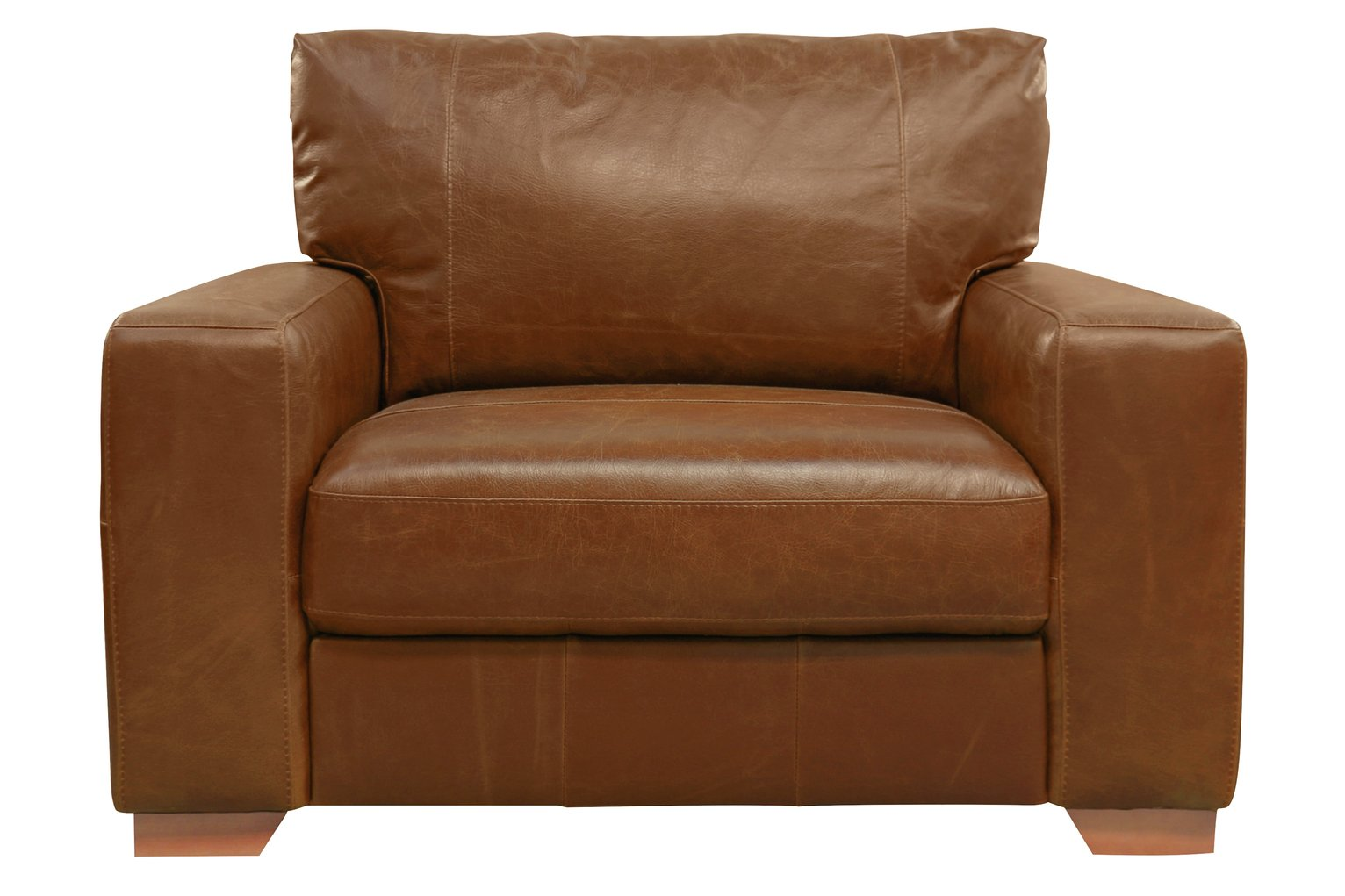 Argos Home Eton Leather Cuddle Chair   Tan