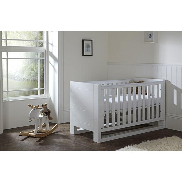 buy tutti bambini rimini high gloss white cot bed at argos. Black Bedroom Furniture Sets. Home Design Ideas