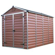 Palram Skylight Plastic Amber Garden Shed - 6 x 10ft Best Price, Cheapest Prices