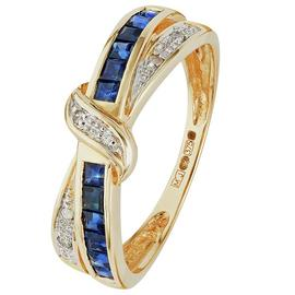 Revere 9ct Yellow Gold Sapphire & Diamond Crossover Ring