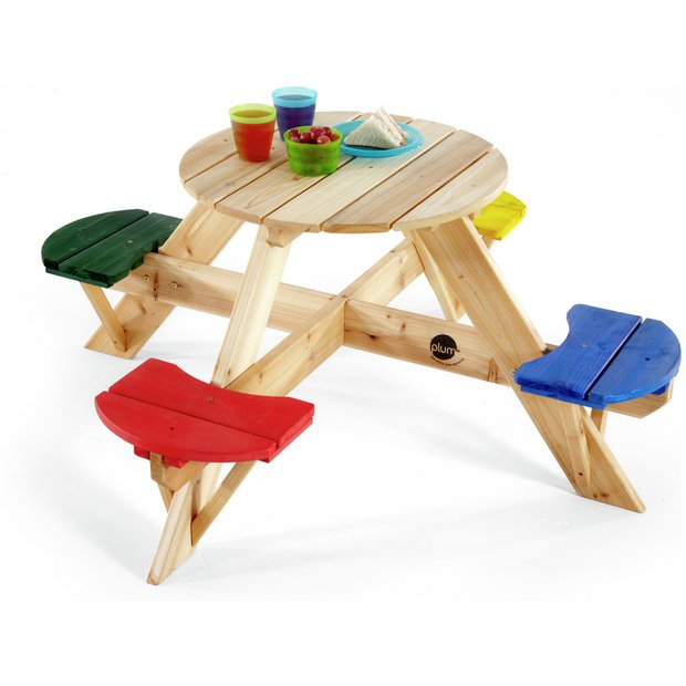 Buy plum children 39 s garden picnic table with coloured for Childrens garden chairs