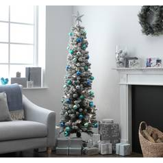 argos home 6ft snow tipped pencil christmas tree green