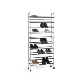 Argos Home 10 Shelf Rolling Shoe Storage Rack - Chrome