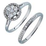 more details on 9ct White Gold 0.50ct tw Diamond Flower Cluster Bridal Set