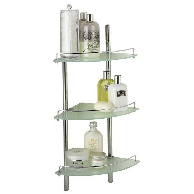 Buy heart of house nyla chrome 3 shelf bathroom shelving for Chrome bathroom shelving unit