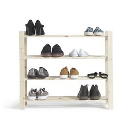 Argos Home 4 Shelf Shoe Storage Rack - Solid Unfinished Pine