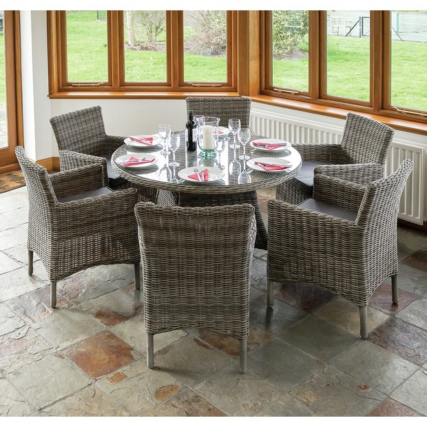Buy Richmond Rattan Garden Dining Set With 6 Chairs At