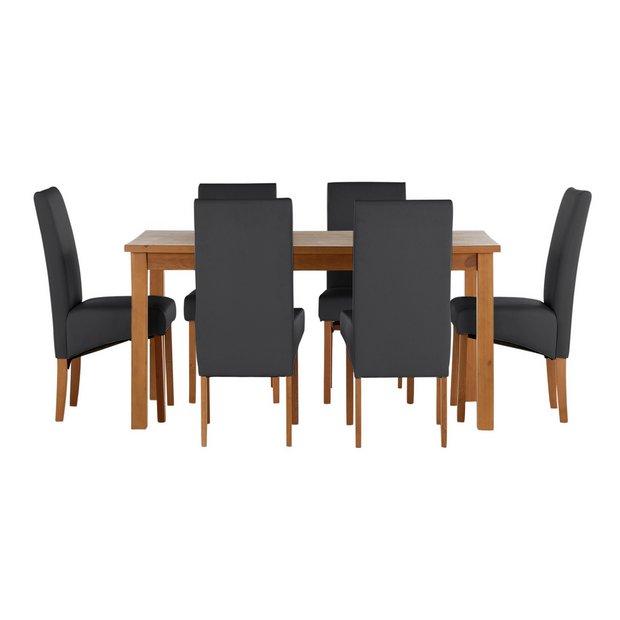 Buy Home Jackson Solid Wood Table 6 Skirted Chairs