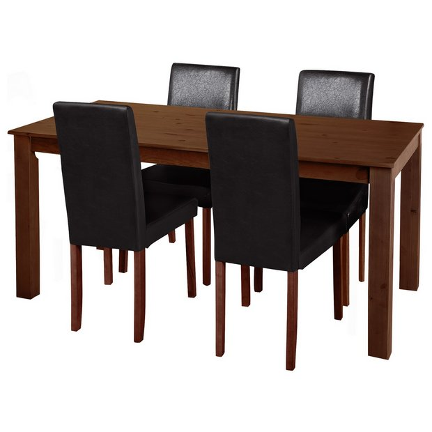 Buy home ashdon solid wood table 4 mid back chairs for Dining room tables homebase