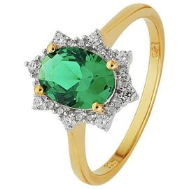 Revere 9ct Gold Plated Sterling Silver Green & White CZ Ring