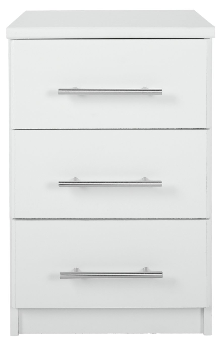 home normandy 3 drawer bedside chest white