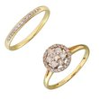 more details on 9ct Gold 0.50ct tw Diamond Flower Cluster Bridal Ring Set.