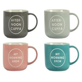 Argos Home Set of 4 Make a Brew Mugs