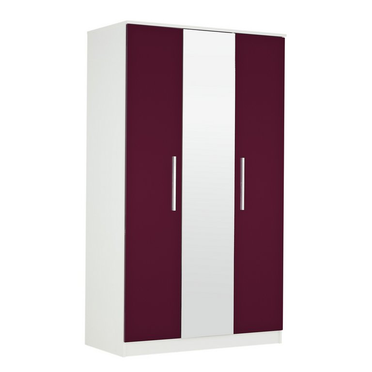 Buy Collection Sparkle 3 Door Mirrored Wardrobe Plum At