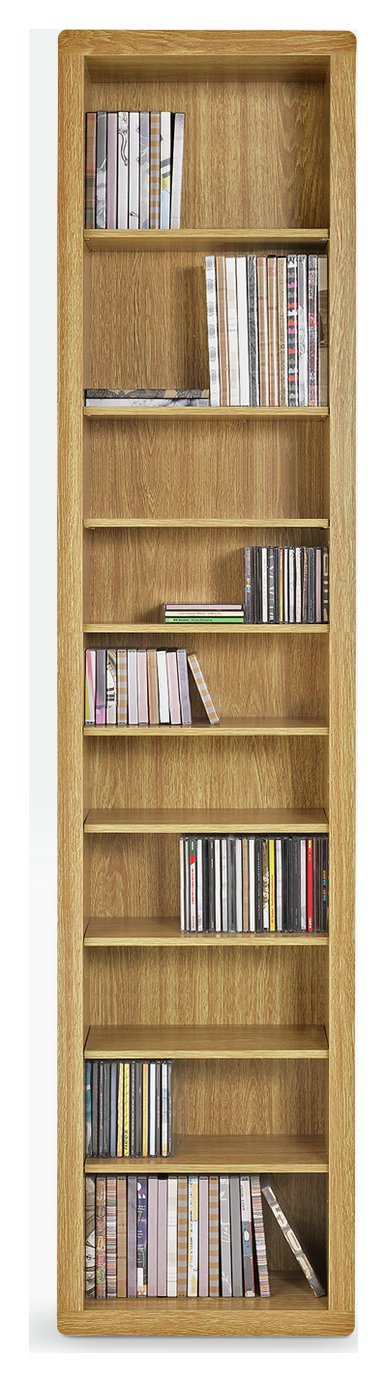 HOME Portland DVD And CD Storage Tower   Oak Effect