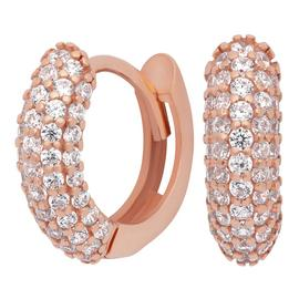 Revere 9ct Rose Gold Plated Pave Huggie Earrings