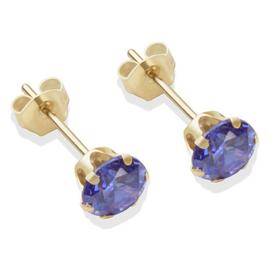 9ct Gold Tanzanite Coloured CZ Stud Earrings - 5mm