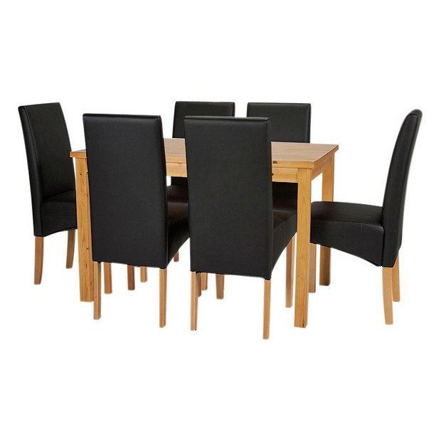 Buy Dining Room Furniture Online: Buy HOME Lincoln Solid Wood Table & 6 Skirted Chairs
