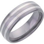 more details on Men's Tungsten 7mm Double Inlay Plain Band Ring.
