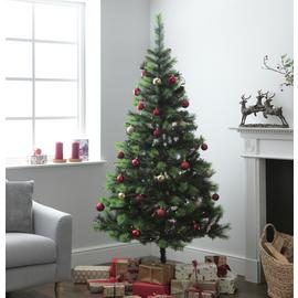Argos Home 7ft Berry and Cone Christmas Tree - Green