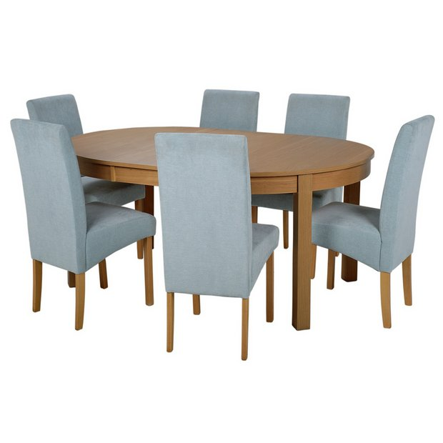 Buy Collection Massey Dining Table 6 Chairs Wood Effect Duck Egg At Argos
