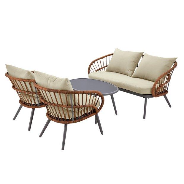 Argos Home Oreti 4 Seater Rattan Sofa Set