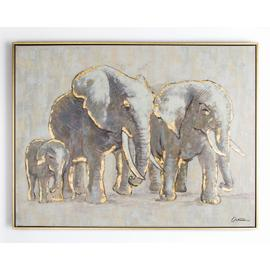 Art for the Home Metallic Elephant Framed Painted Canvas
