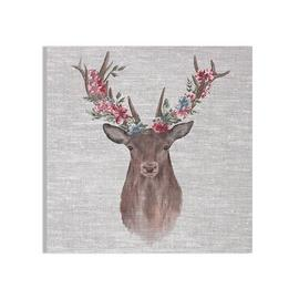 Art for the Home Watercolour Floral Stag Printed Canvas